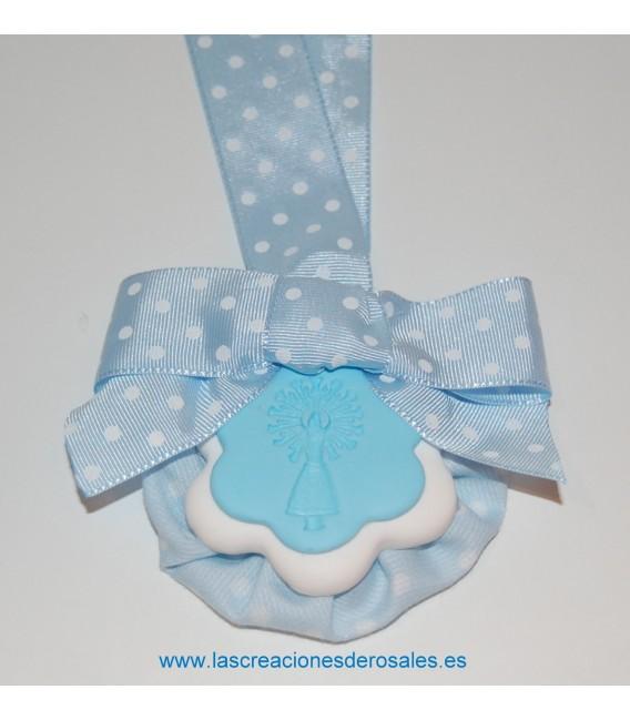 """Medalla doble flor azul bebe """"PILARICAS"""""""