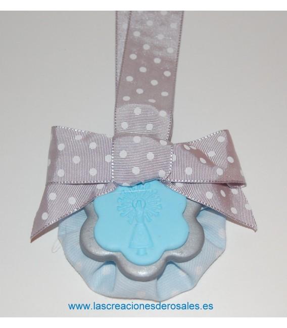 """Medalla doble flor azul y plata """"PILARICAS"""""""
