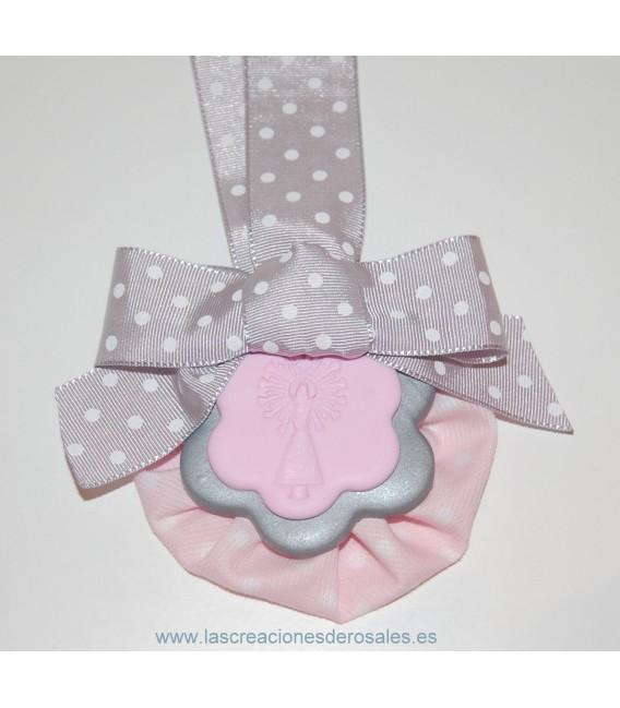 """Medalla doble flor rosa bebe y plata """"PILARICAS"""""""