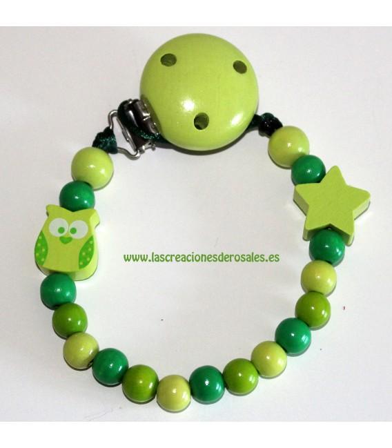 Chupetero Madera Búho y Estrella tonos verdes