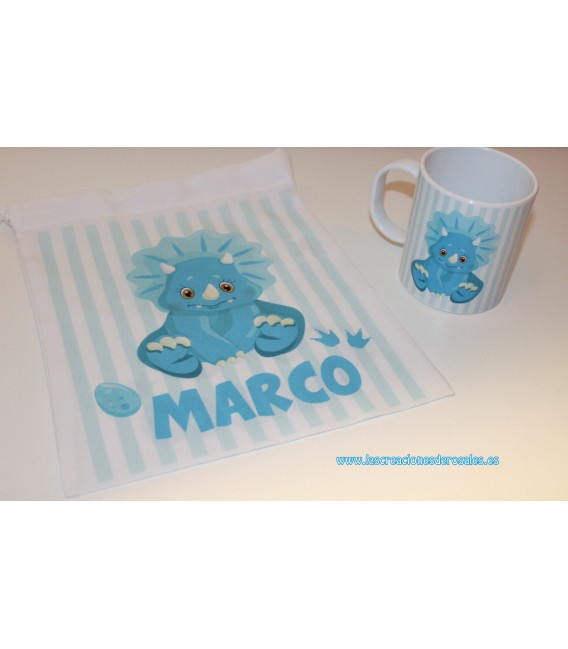 Pack Dino azul (Taza+Bolsita)