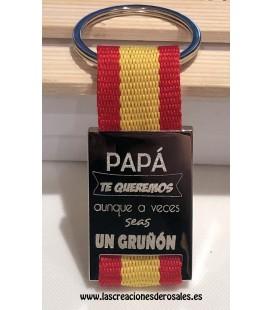 """Llavero """"Papá Te Queremos aunque a veces seas un gruñón"""""""