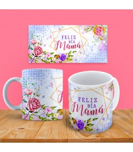 "Taza Floral ""Feliz Día Mamá"""