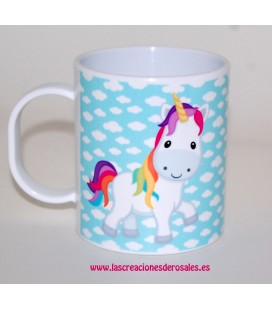 Taza Plástico Unicornio turquesa