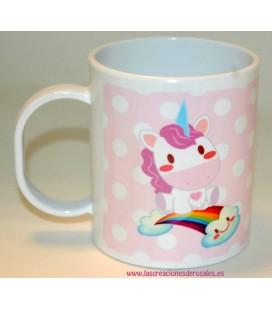 Taza Plástico Unicornio rosa
