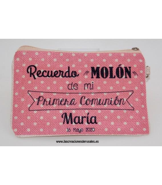 """Monedero Portatodo Personalizado """"Recuerdo Molón de Mi Primera Comunión!"""" Rosa Topos"""