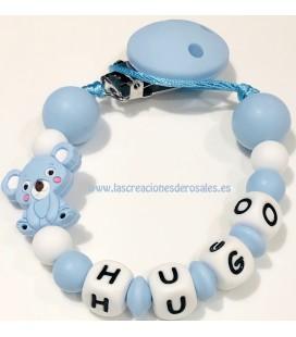 Chupetero Silicona Koalita azul bebe y blanco