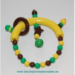 Sonajero Cascabel y Estrella en chocolate,verde y amarillo