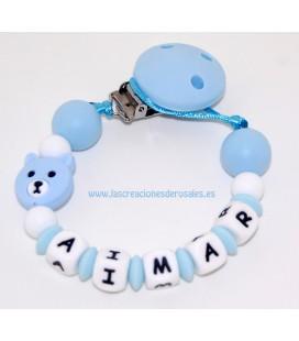 Chupetero Silicona Oso azul bebe y blanco