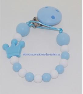 Chupetero Silicona Corona azul bebe y blanco