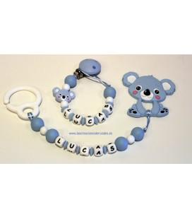 Pack Silicona Chupetero+Mordedor Koala Azul