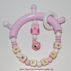 Sonajero Búho y Cascabel rosa bebe