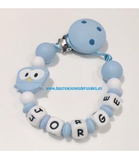 Chupetero Silicona Búho azul bebe y blanco