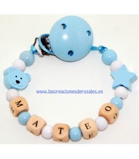 Chupetero Madera Osito y Estrella azul bebe y blanco