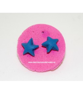 Pendientes Silicona Estrella Azul Gris