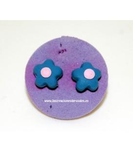 Pendientes Silicona Flor Azul Gris con rosita