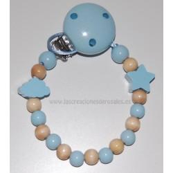Chupetero madera Nube mini y Estrella azul bebe y madera