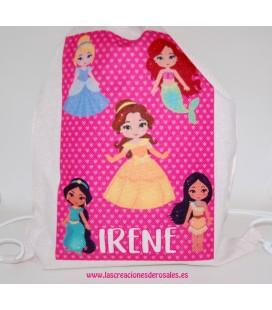 Bolsa Saco Princesas rosa personalizada