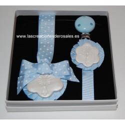 """Pack Medalla y Chupetero 1 Flor Azul bebe """"PILARICAS"""""""