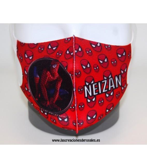 Mascarilla Infantil Spider roja Personalizada