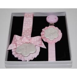 """Pack Medalla y Chupetero 1 Flor rosa bebe """"PILARICAS"""""""