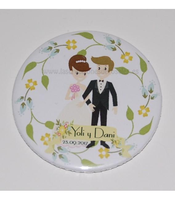 Espejo para el bolso Novios Floral Personalizados